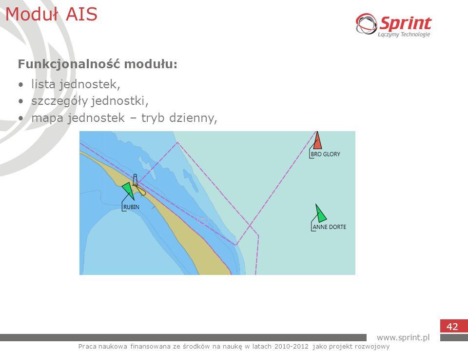 www.sprint.pl 42 Moduł AIS Praca naukowa finansowana ze środków na naukę w latach 2010-2012 jako projekt rozwojowy Funkcjonalność modułu: lista jednos