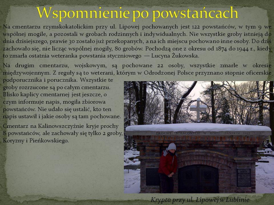 Na cmentarzu rzymskokatolickim przy ul. Lipowej pochowanych jest 122 powstańców, w tym 9 we wspólnej mogile, a pozostali w grobach rodzinnych i indywi