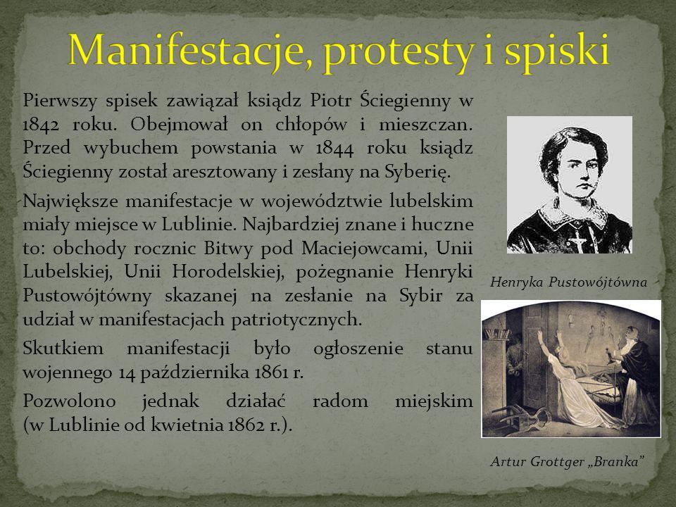 Pierwszy spisek zawiązał ksiądz Piotr Ściegienny w 1842 roku. Obejmował on chłopów i mieszczan. Przed wybuchem powstania w 1844 roku ksiądz Ściegienny