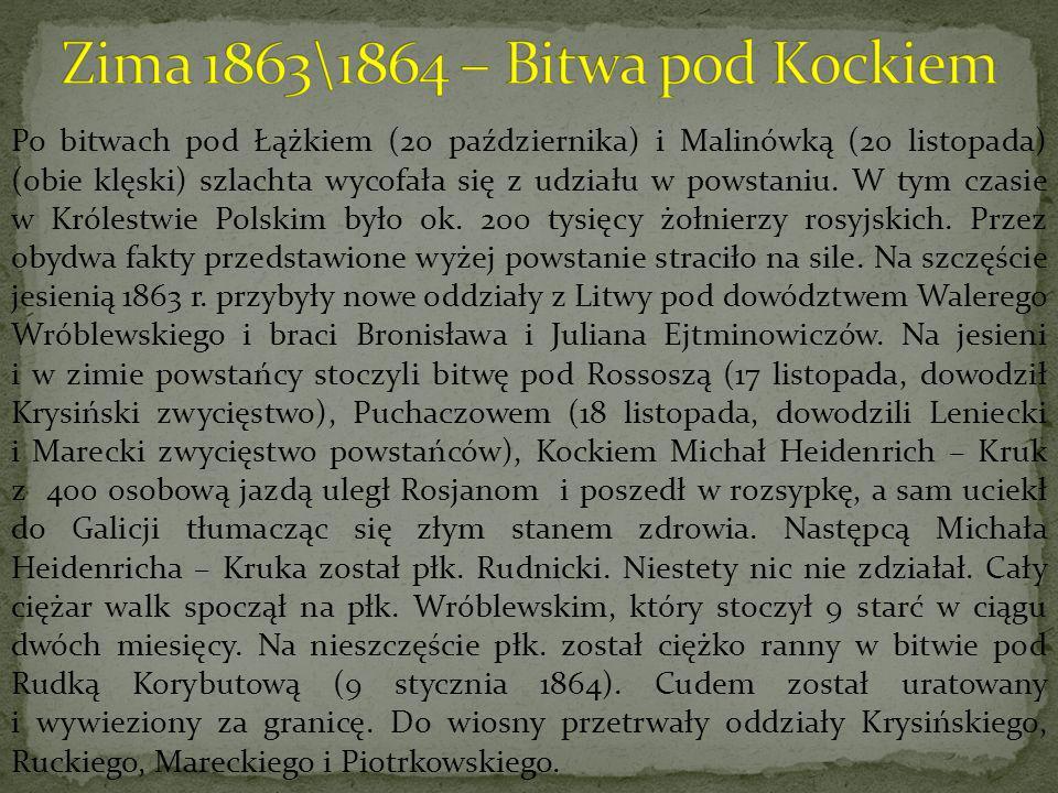 Po bitwach pod Łążkiem (20 października) i Malinówką (20 listopada) (obie klęski) szlachta wycofała się z udziału w powstaniu. W tym czasie w Królestw
