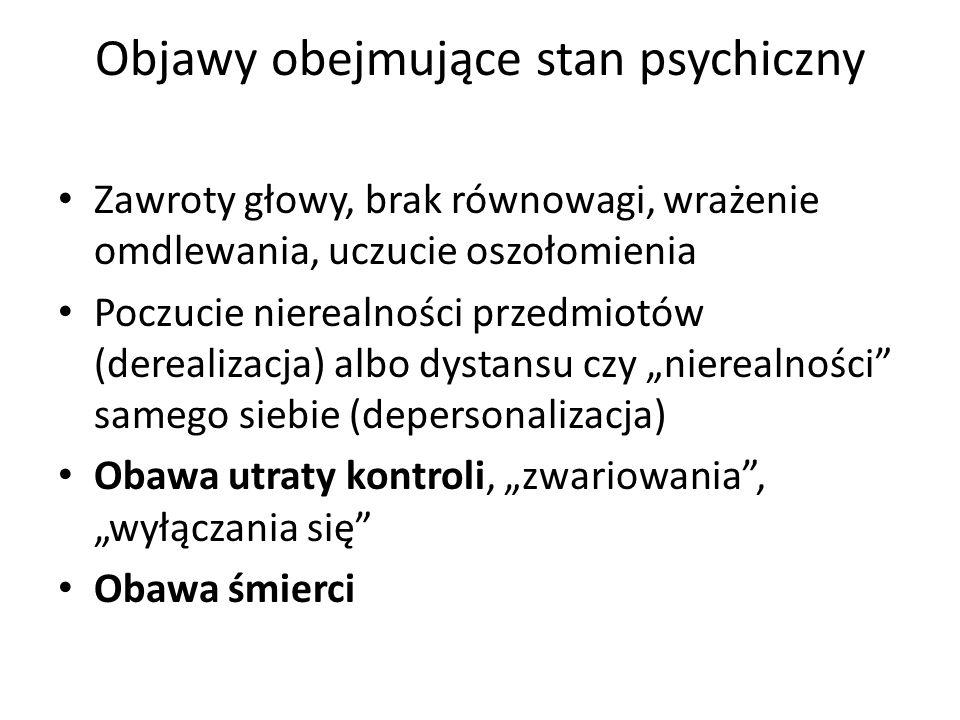 Objawy obejmujące stan psychiczny Zawroty głowy, brak równowagi, wrażenie omdlewania, uczucie oszołomienia Poczucie nierealności przedmiotów (derealiz