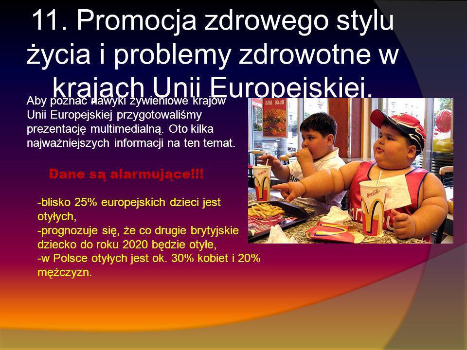 11. Promocja zdrowego stylu życia i problemy zdrowotne w krajach Unii Europejskiej. Dane są alarmujące!!! -blisko 25% europejskich dzieci jest otyłych