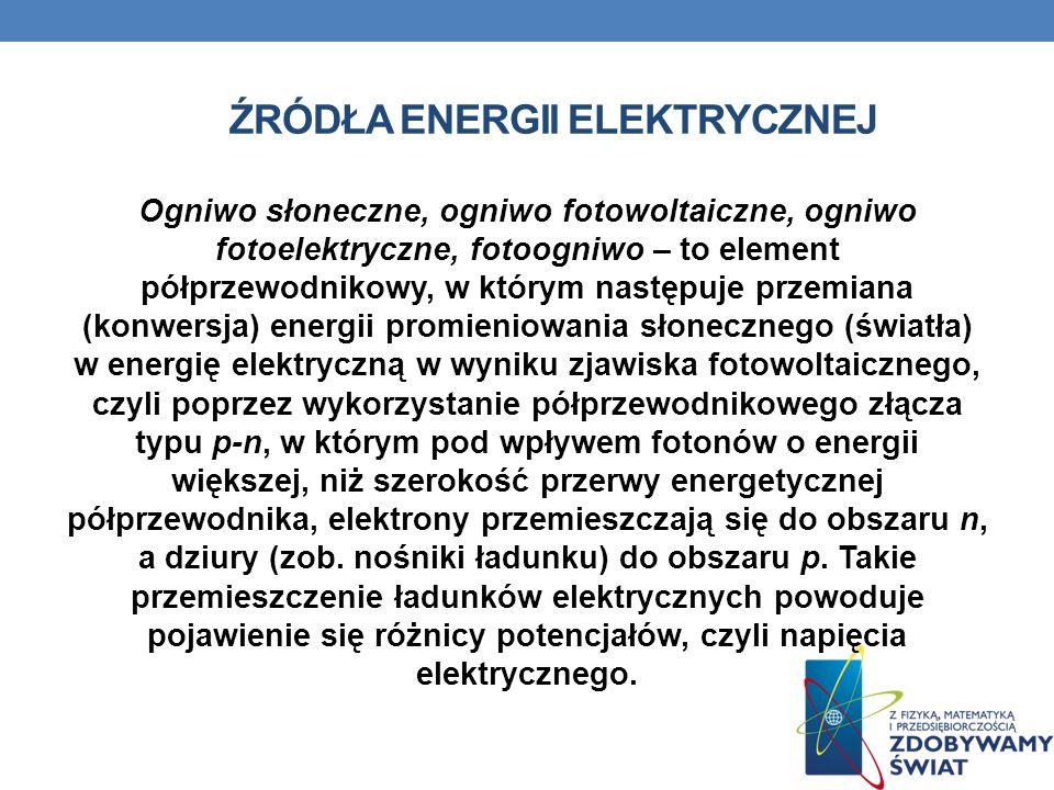 ŹRÓDŁA ENERGII ELEKTRYCZNEJ Ogniwo słoneczne, ogniwo fotowoltaiczne, ogniwo fotoelektryczne, fotoogniwo – to element półprzewodnikowy, w którym następ