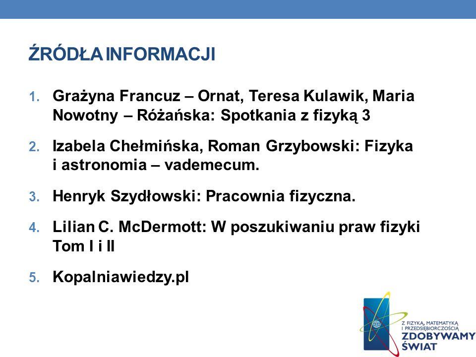 ŹRÓDŁA INFORMACJI 1. Grażyna Francuz – Ornat, Teresa Kulawik, Maria Nowotny – Różańska: Spotkania z fizyką 3 2. Izabela Chełmińska, Roman Grzybowski: