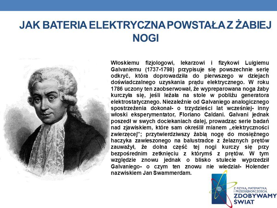 JAK BATERIA ELEKTRYCZNA POWSTAŁA Z ŻABIEJ NOGI Włoskiemu fizjologowi, lekarzowi i fizykowi Luigiemu Galvaniemu (1737-1798) przypisuje się powszechnie