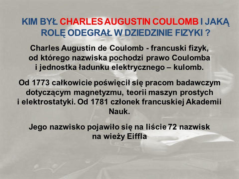 KIM BYŁ CHARLES AUGUSTIN COULOMB I JAKĄ ROLĘ ODEGRAŁ W DZIEDZINIE FIZYKI ? Charles Augustin de Coulomb - francuski fizyk, od którego nazwiska pochodzi