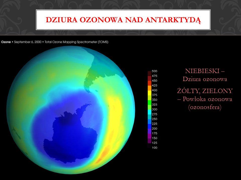 NIEBIESKI – Dziura ozonowa ŻÓŁTY, ZIELONY – Powłoka ozonowa (ozonosfera) DZIURA OZONOWA NAD ANTARKTYDĄ