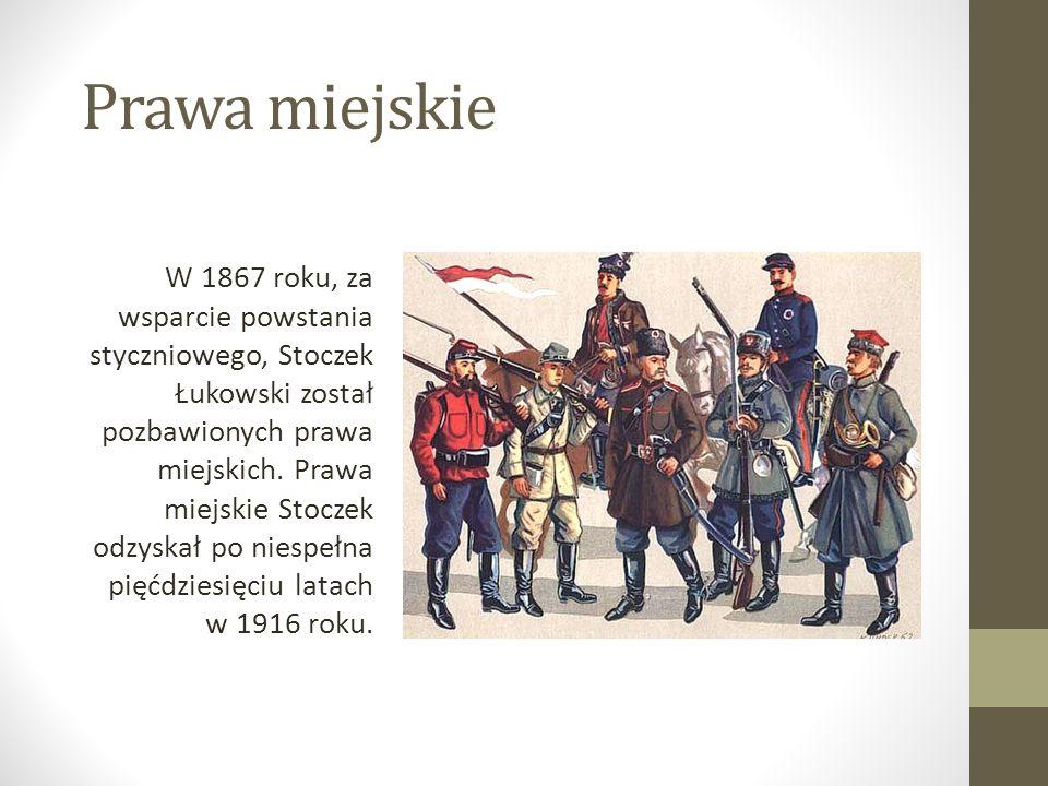 Prawa miejskie W 1867 roku, za wsparcie powstania styczniowego, Stoczek Łukowski został pozbawionych prawa miejskich. Prawa miejskie Stoczek odzyskał