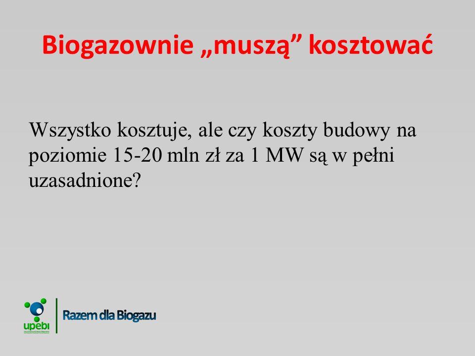 Biogazownie muszą kosztować Wszystko kosztuje, ale czy koszty budowy na poziomie 15-20 mln zł za 1 MW są w pełni uzasadnione?