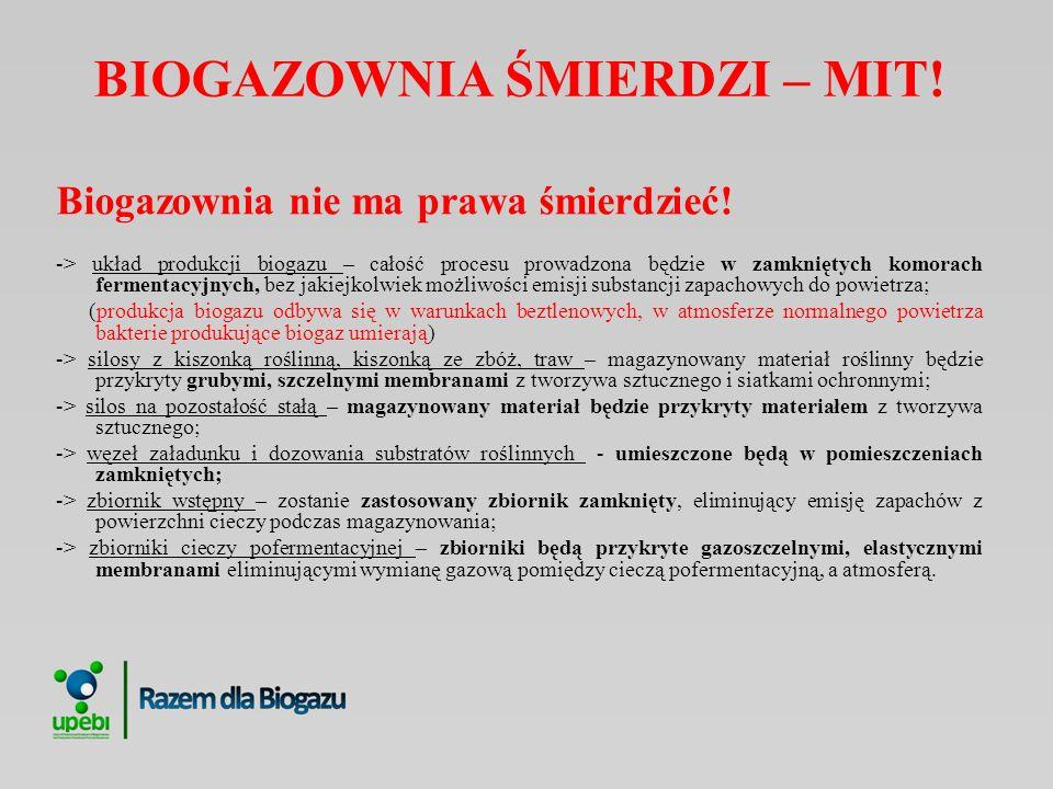 BIOGAZOWNIA ŚMIERDZI – MIT! Biogazownia nie ma prawa śmierdzieć! -> układ produkcji biogazu – całość procesu prowadzona będzie w zamkniętych komorach