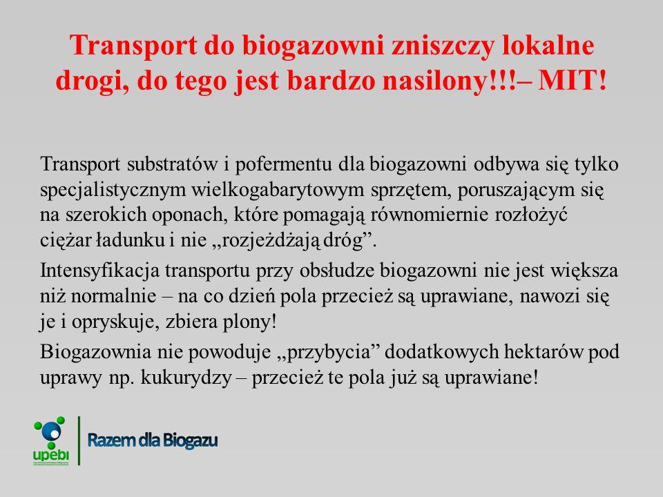 Transport do biogazowni zniszczy lokalne drogi, do tego jest bardzo nasilony!!!– MIT! Transport substratów i pofermentu dla biogazowni odbywa się tylk
