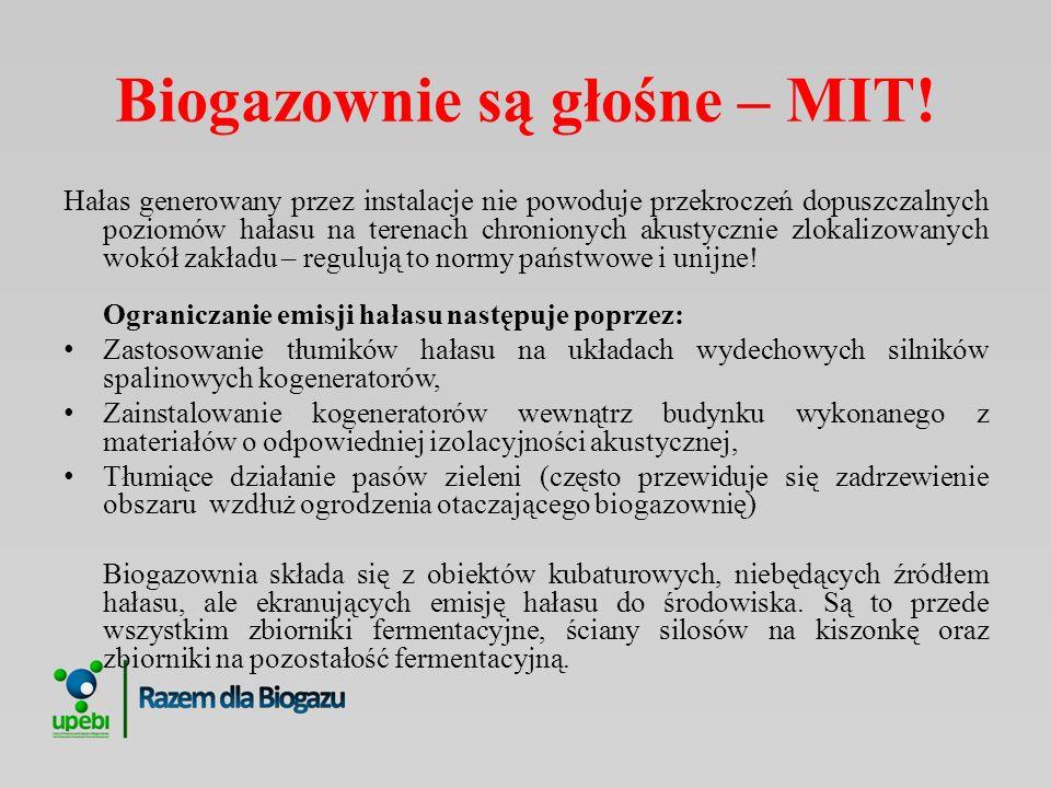Biogazownie są bezobsługowe – MIT Biogazownie wybuchają – MIT Biogazownia musi używac gnojowicy/obornika - MIT Do obsługi biogazowni potrzebni są ludzie.