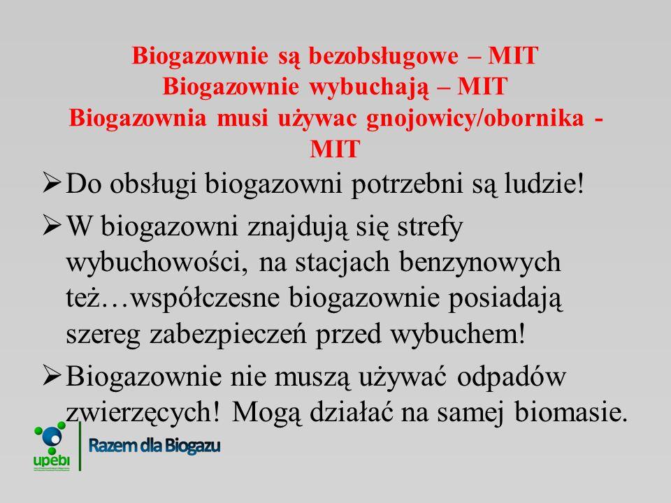 Biogazownie są bezobsługowe – MIT Biogazownie wybuchają – MIT Biogazownia musi używac gnojowicy/obornika - MIT Do obsługi biogazowni potrzebni są ludz