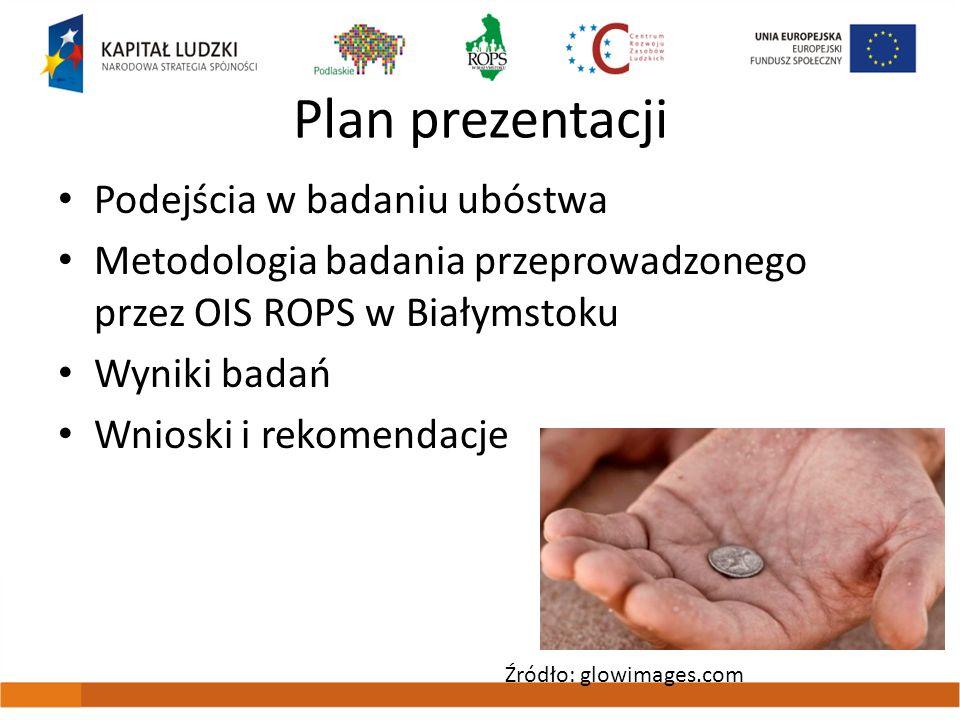 Plan prezentacji Podejścia w badaniu ubóstwa Metodologia badania przeprowadzonego przez OIS ROPS w Białymstoku Wyniki badań Wnioski i rekomendacje Źró