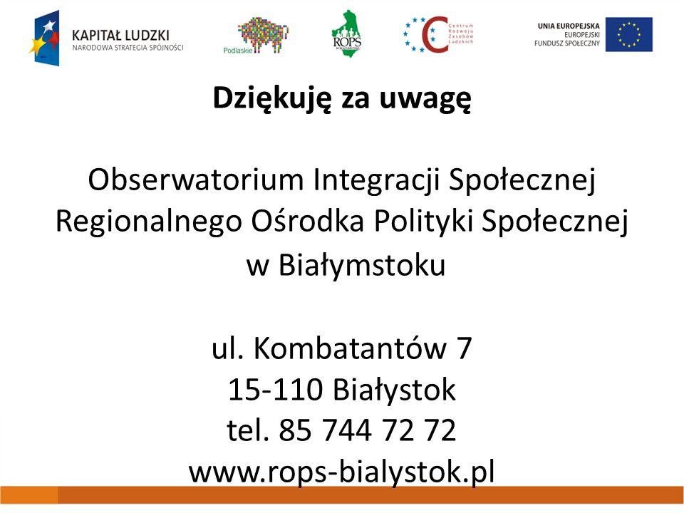 Dziękuję za uwagę Obserwatorium Integracji Społecznej Regionalnego Ośrodka Polityki Społecznej w Białymstoku ul. Kombatantów 7 15-110 Białystok tel. 8