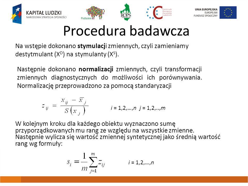 Procedura badawcza Na wstępie dokonano stymulacji zmiennych, czyli zamieniamy destytmulant (X D ) na stymulanty (X S ). Następnie dokonano normalizacj