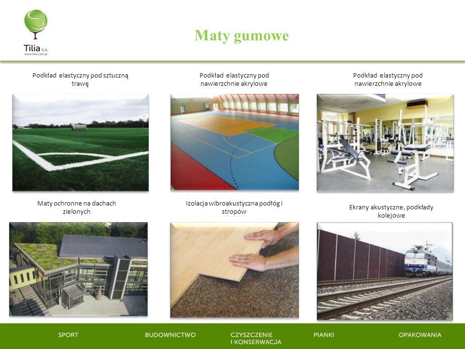 Maty gumowe Podkład elastyczny pod sztuczną trawę Podkład elastyczny pod nawierzchnie akrylowe Maty ochronne na dachach zielonych Izolacja wibroakusty