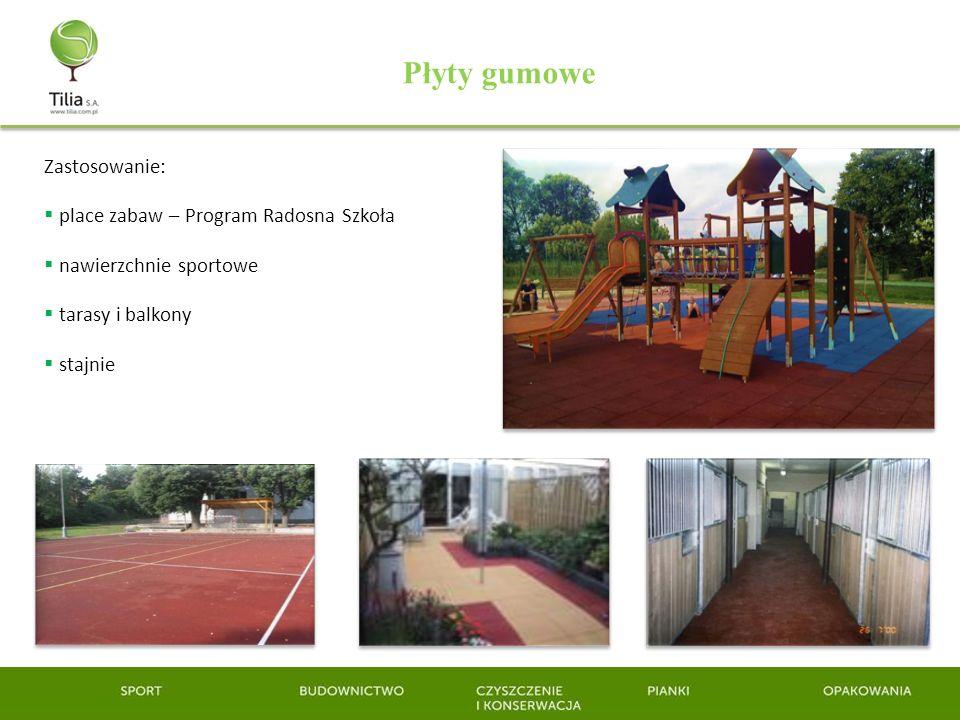 Zastosowanie: place zabaw – Program Radosna Szkoła nawierzchnie sportowe tarasy i balkony stajnie Płyty gumowe