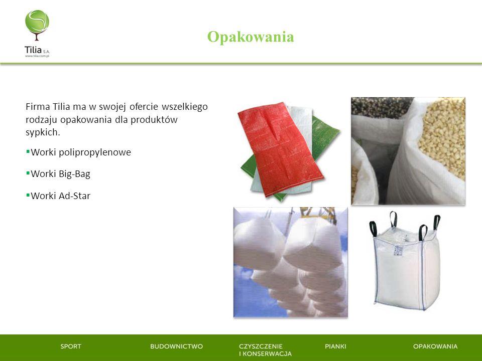 Firma Tilia ma w swojej ofercie wszelkiego rodzaju opakowania dla produktów sypkich. Worki polipropylenowe Worki Big-Bag Worki Ad-Star Opakowania