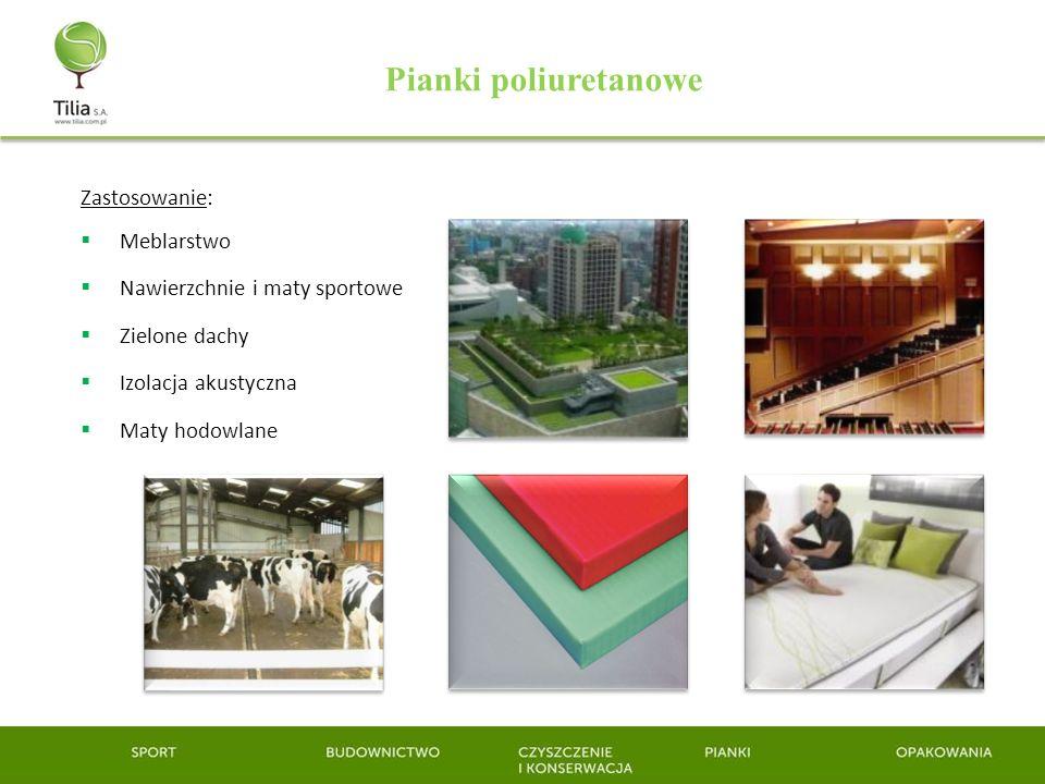 Zastosowanie: Meblarstwo Nawierzchnie i maty sportowe Zielone dachy Izolacja akustyczna Maty hodowlane Pianki poliuretanowe