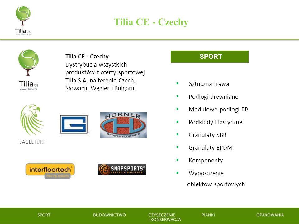 Tilia CE - Czechy Sztuczna trawa Podłogi drewniane Modułowe podłogi PP Podkłady Elastyczne Granulaty SBR Granulaty EPDM Komponenty Wyposażenie obiektó