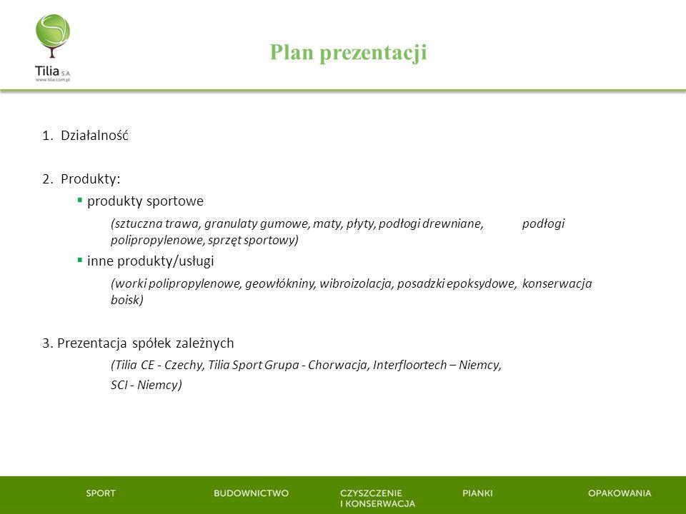 Plan prezentacji 1. Działalność 2. Produkty: produkty sportowe (sztuczna trawa, granulaty gumowe, maty, płyty, podłogi drewniane, podłogi polipropylen