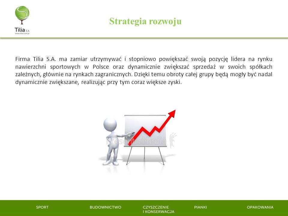 Strategia rozwoju Firma Tilia S.A. ma zamiar utrzymywać i stopniowo powiększać swoją pozycję lidera na rynku nawierzchni sportowych w Polsce oraz dyna