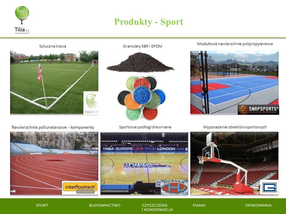 Produkty - Sport Sztuczna trawa Nawierzchnie poliuretanowe - komponenty Granulaty SBR i EPDM Modułowe nawierzchnie polipropylenowe Sportowe podłogi dr