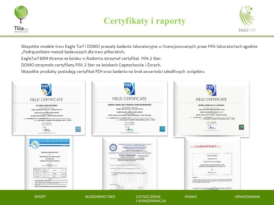 Certyfikaty i raporty Wszystkie modele traw Eagle Turf i DOMO przeszły badania laboratoryjne w licencjonowanych przez FIFA laboratoriach zgodnie Podrę