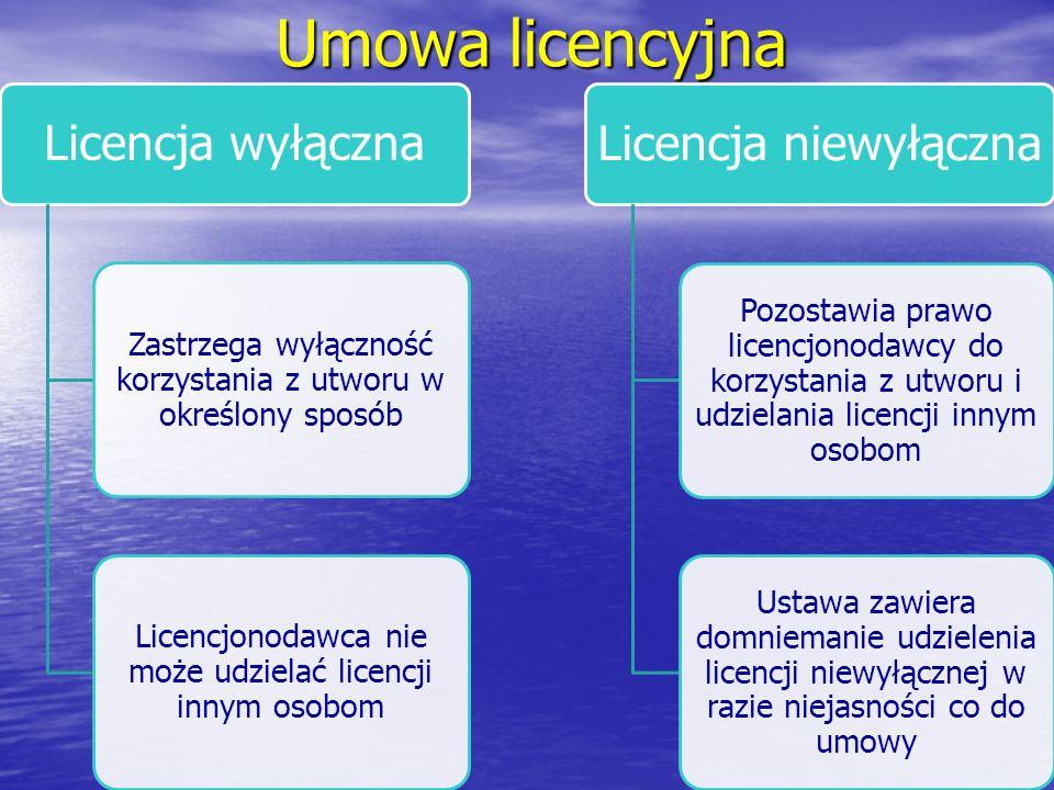 Umowa licencyjna Licencja wyłączna Zastrzega wyłączność korzystania z utworu w określony sposób Licencjonodawca nie może udzielać licencji innym osobo