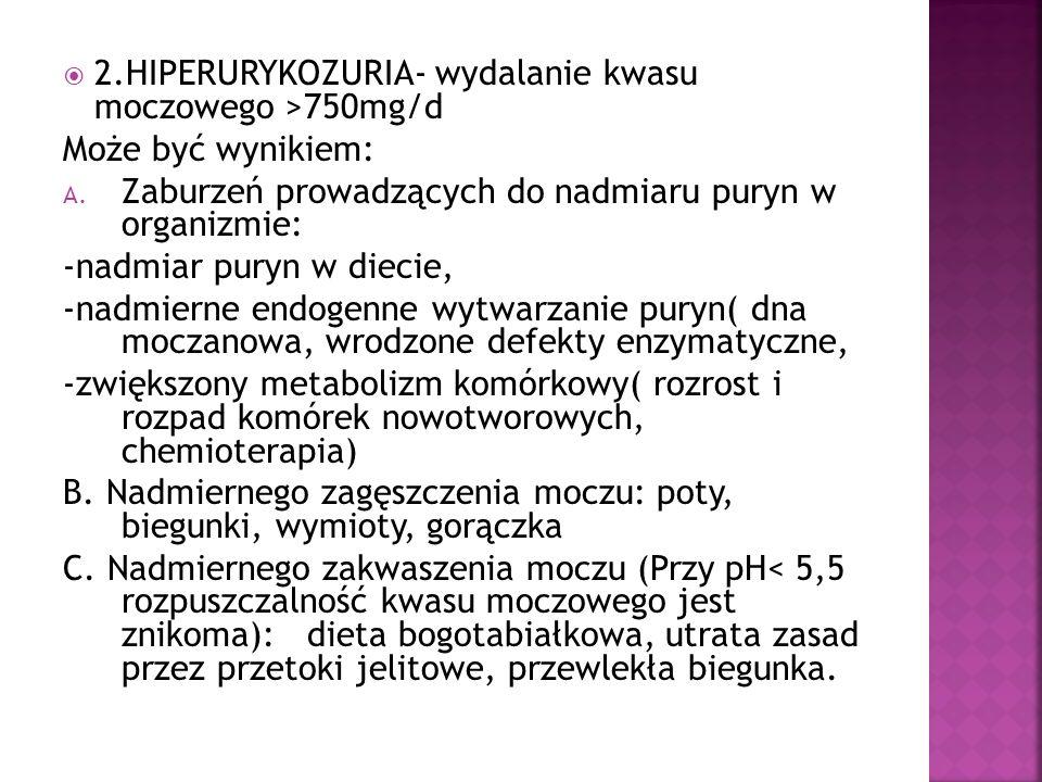 2.HIPERURYKOZURIA- wydalanie kwasu moczowego >750mg/d Może być wynikiem: A. Zaburzeń prowadzących do nadmiaru puryn w organizmie: -nadmiar puryn w die
