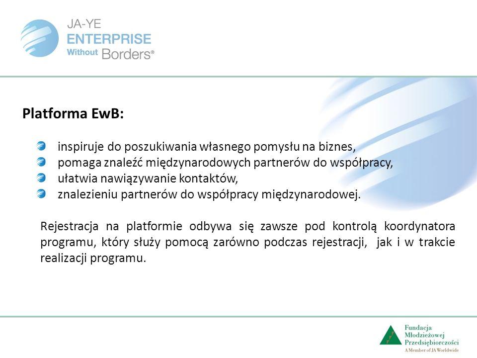Platforma EwB: inspiruje do poszukiwania własnego pomysłu na biznes, pomaga znaleźć międzynarodowych partnerów do współpracy, ułatwia nawiązywanie kontaktów, znalezieniu partnerów do współpracy międzynarodowej.