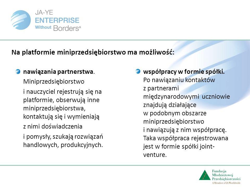 Na platformie miniprzedsiębiorstwo ma możliwość: nawiązania partnerstwa.