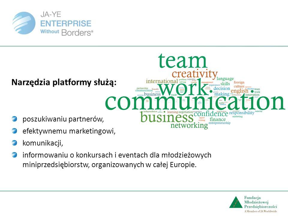 Narzędzia platformy służą: poszukiwaniu partnerów, efektywnemu marketingowi, komunikacji, informowaniu o konkursach i eventach dla młodzieżowych miniprzedsiębiorstw, organizowanych w całej Europie.