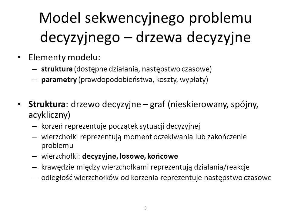 Elementy modelu: – struktura (dostępne działania, następstwo czasowe) – parametry (prawdopodobieństwa, koszty, wypłaty) Struktura: drzewo decyzyjne –