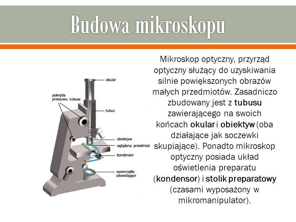 Mikroskop optyczny, przyrząd optyczny służący do uzyskiwania silnie powiększonych obrazów małych przedmiotów. Zasadniczo zbudowany jest z tubusu zawie