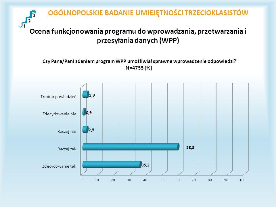 OGÓLNOPOLSKIE BADANIE UMIEJĘTNOŚCI TRZECIOKLASISTÓW Ocena funkcjonowania programu do wprowadzania, przetwarzania i przesyłania danych (WPP)