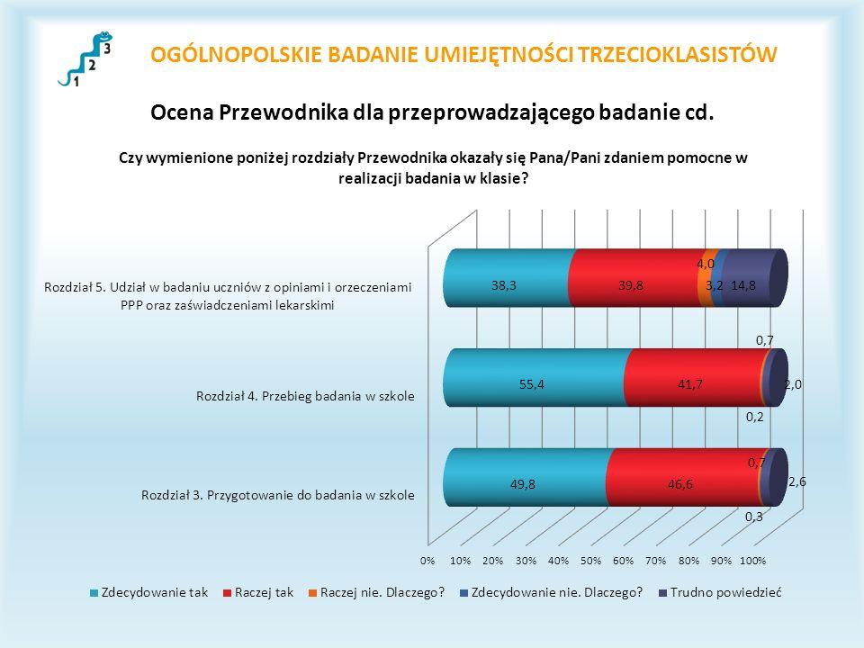 OGÓLNOPOLSKIE BADANIE UMIEJĘTNOŚCI TRZECIOKLASISTÓW Ocena Przewodnika dla przeprowadzającego badanie cd.