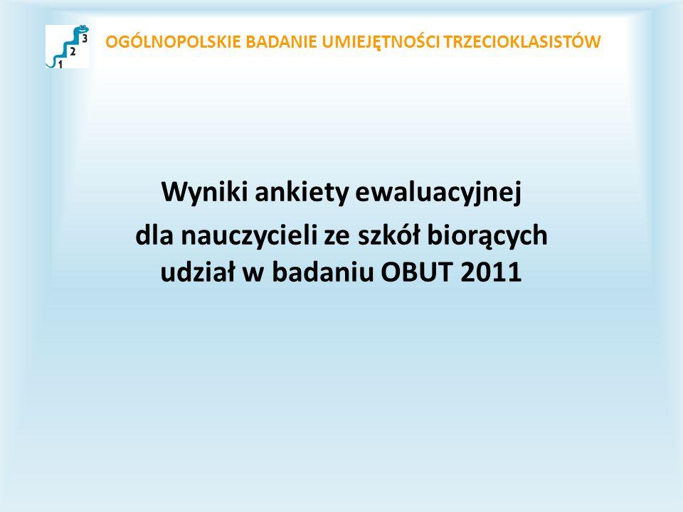 OGÓLNOPOLSKIE BADANIE UMIEJĘTNOŚCI TRZECIOKLASISTÓW Wyniki ankiety ewaluacyjnej dla nauczycieli ze szkół biorących udział w badaniu OBUT 2011