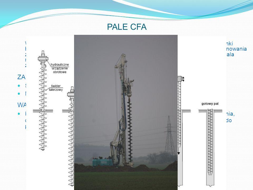 PALE CFA Wiercenie odbywa się świdrem ciągłym z rdzeniem rurowym do tłoczenia mieszanki betonowej. Po dowierceniu do projektowanej rzędnej rozpoczyna
