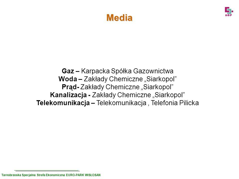 Media Gaz – Karpacka Spółka Gazownictwa Woda – Zakłady Chemiczne Siarkopol Prąd- Zakłady Chemiczne Siarkopol Kanalizacja - Zakłady Chemiczne Siarkopol