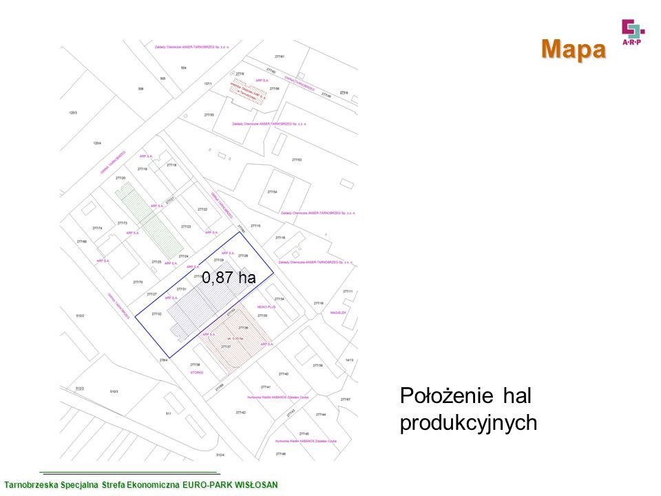 Położenie hal produkcyjnych Mapa 0,87 ha