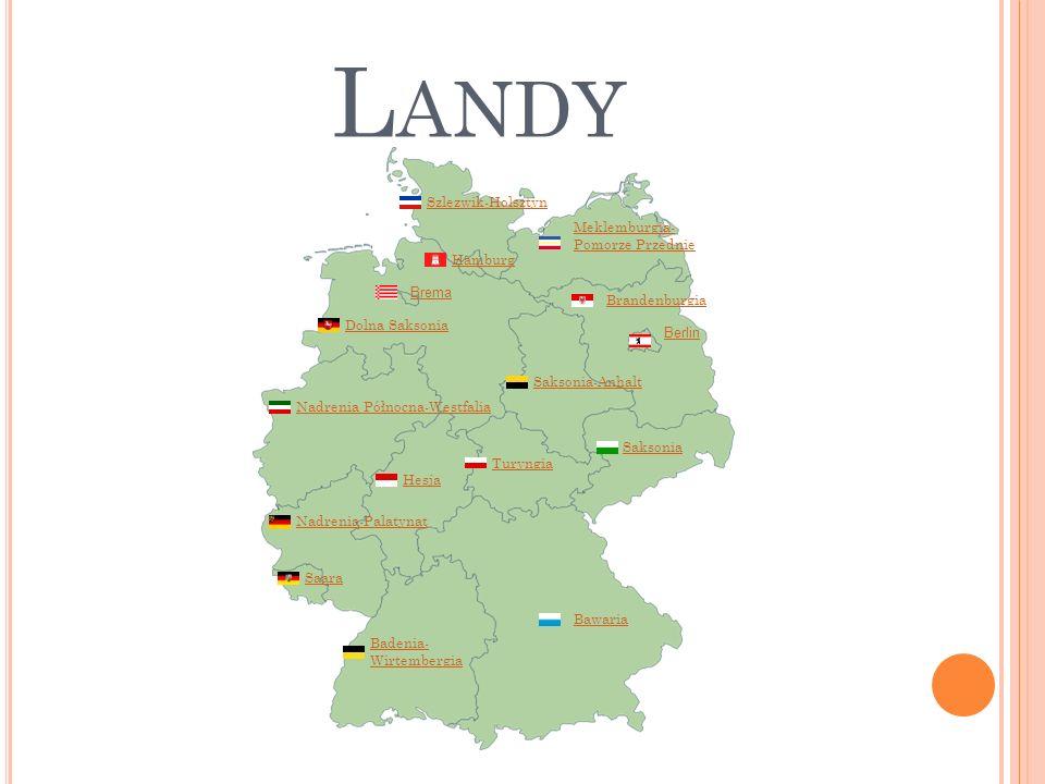 L ANDY Meklemburgia- Pomorze Przednie Badenia- Wirtembergia Bawaria Berlin Brandenburgia Brema Hamburg Hesja Saksonia-Anhalt Turyngia Saara Nadrenia-P