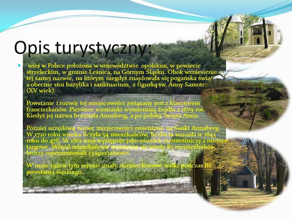 Opis turystyczny: wieś w Polsce położona w województwie opolskim, w powiecie strzeleckim, w gminie Leśnica, na Górnym Śląsku.