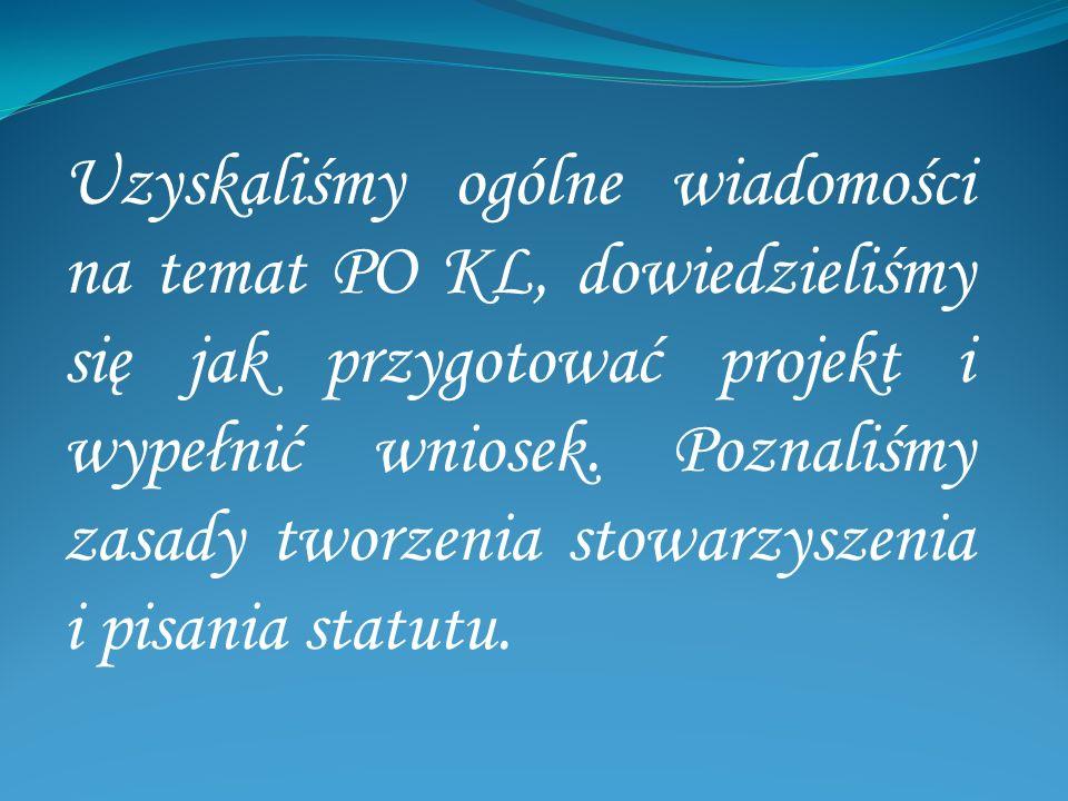 Uzyskaliśmy ogólne wiadomości na temat PO KL, dowiedzieliśmy się jak przygotować projekt i wypełnić wniosek. Poznaliśmy zasady tworzenia stowarzyszeni