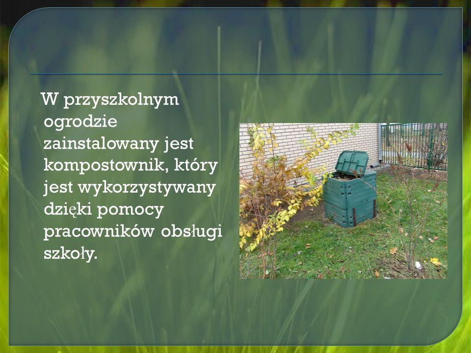 W przyszkolnym ogrodzie zainstalowany jest kompostownik, który jest wykorzystywany dzi ę ki pomocy pracowników obs ł ugi szko ł y.