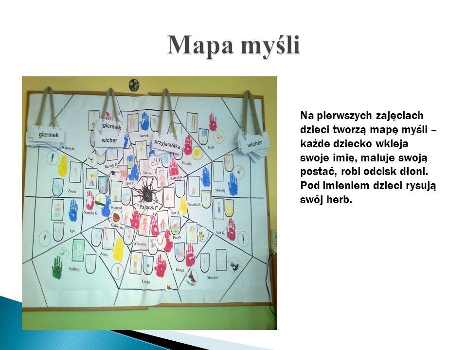 Na pierwszych zajęciach dzieci tworzą mapę myśli – każde dziecko wkleja swoje imię, maluje swoją postać, robi odcisk dłoni. Pod imieniem dzieci rysują