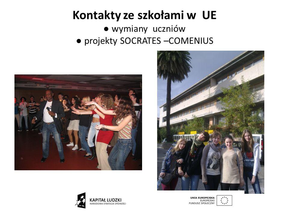 Kontakty ze szkołami w UE wymiany uczniów projekty SOCRATES –COMENIUS