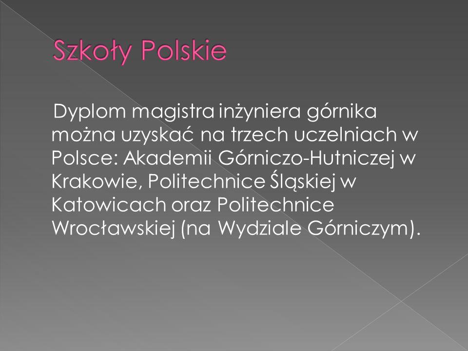 Dyplom magistra inżyniera górnika można uzyskać na trzech uczelniach w Polsce: Akademii Górniczo-Hutniczej w Krakowie, Politechnice Śląskiej w Katowic
