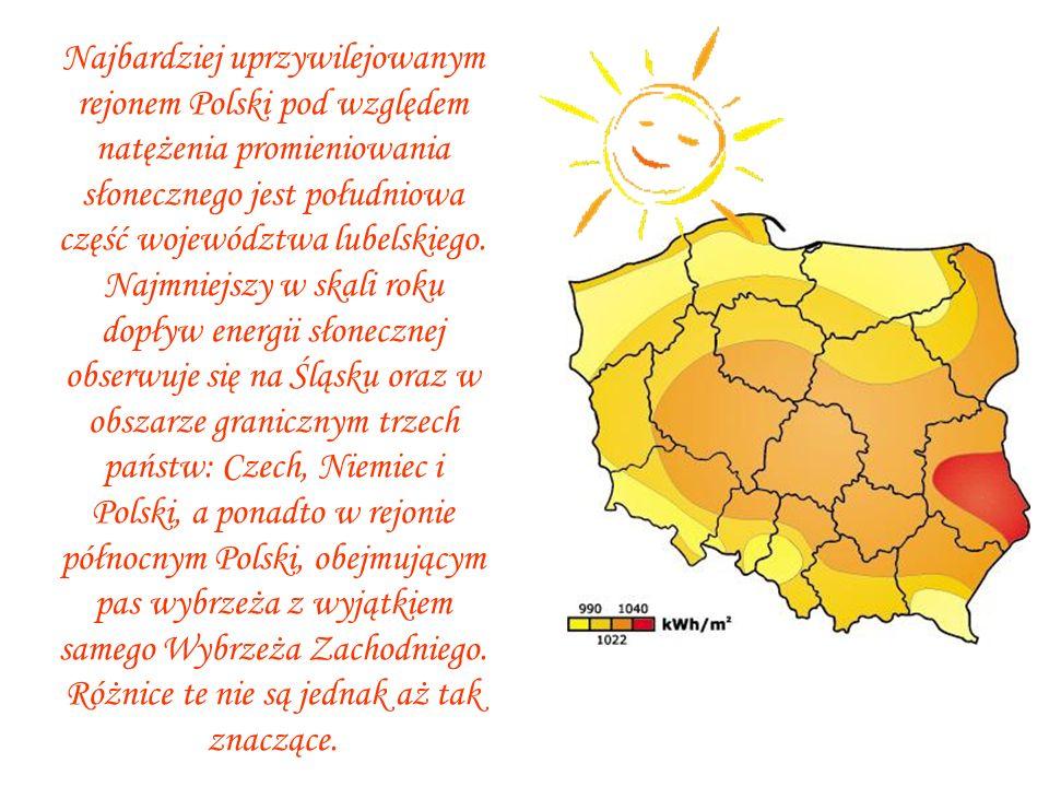 Najbardziej uprzywilejowanym rejonem Polski pod względem natężenia promieniowania słonecznego jest południowa część województwa lubelskiego.